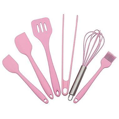 Silicone Baking Utensils Sets- 6 Piece Premium Silicone Baking Tool Set –Tongs, Whisk, 2 Sizes Spatula, Pastry Brush, Slotted Turner - Heat Resistant Baking Utensil Tool Set(Pink)