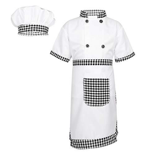Freebily Enfant Déguisement Uniforme de Chef Fille Garçon Ensemble Vêtement Cuisine Cours Chemise Tablier Bonnet Chef Cuisinier Chef Tenues de Carnaval Fête 4-12 Ans Gris 8-10 Ans