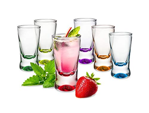 Sables & Reflets - Vasos de chupito Mix Color – Vodka, Tequila – Juego de 6 – 30 ml
