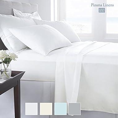 Pizuna Premium 1000 Thread Count 4pc Sheet Set, 100% Long staple Cotton White King Sheets, Luxurious Soft Sateen Weave Bedsheets fits upto 17  Deep Pockets (White King 100% Cotton Sheet set)