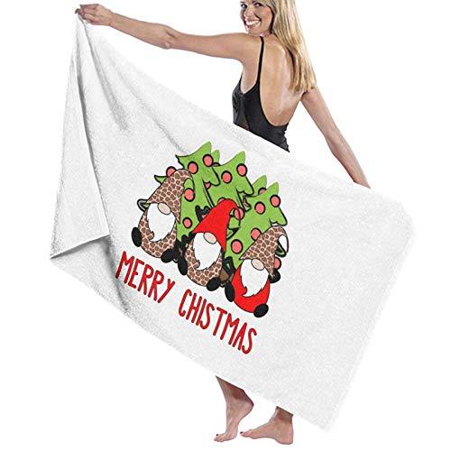 U/K Toalla de baño de 3 gnomos nórdicos de invierno de Navidad sueca Tomte lindos elfos leopardo toalla de baño de secado rápido