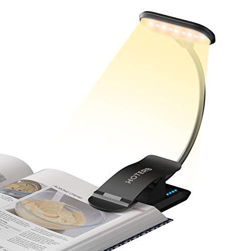 HOTERB Luce da Lettura per Libro,9 LED Lampada da Lettura 3 modalità Luce per Lettura Libri,Lampada Pinza USB Ricaricabile Lampada Libro Flessibile per Leggere a Letto,Scrivania,Nero