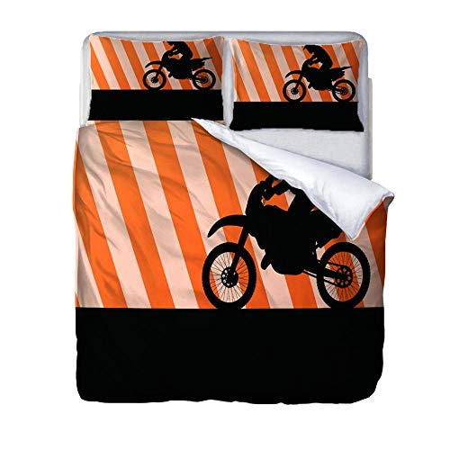 HLLIZ Double Duvet Covers Set, motorcycle Bedding Set With Zipper Closure, Microfiber Bedding 1 Quilt Cover With 2 Pillowcases For Kids And Teens Adults, 200 cm W X 200 cm H