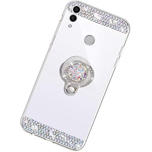 Funda Compatible con Huawei Honor 8X.Espejo Glitter Diamante Anillo Soporte Brillo TPU Transparente Silicona Suave Carcasa Cover Mirror Bling Moda Ultrafino Protective Bumper Case,Plata