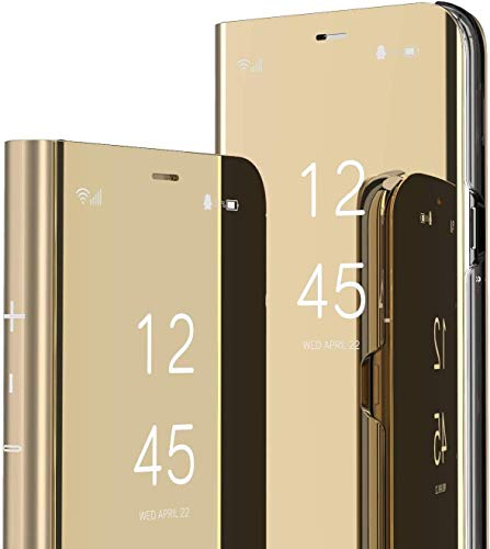 Capa flip compatível com Samsung Galaxy S10 Plus, capa fina translúcida espelhada, capa de proteção total, capa híbrida de couro PU PC à prova de choque para Samsung Galaxy S10 Plus (dourada)