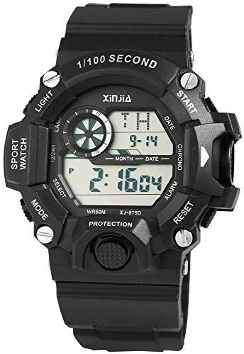 Xinjia - Reloj Digital de Pulsera para Hombre (Silicona, Cuarzo, con Alarma, Fecha), Color Negro