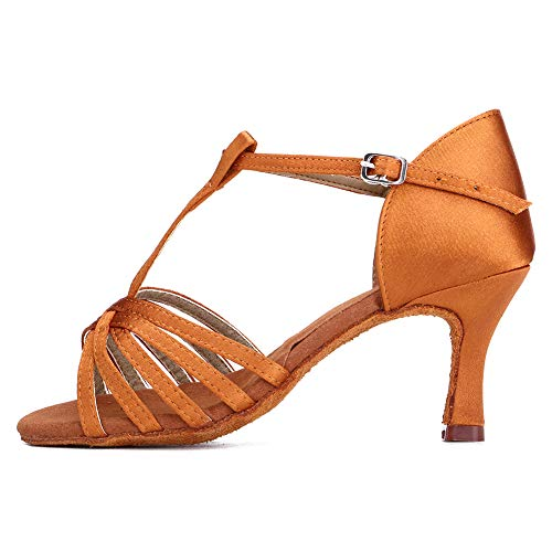 SWDZM Scarpe da Ballo Latino Donna,Scarpe da Ballo Latino Standard,Tango Samba Salsa Model SS331 Marrone 36.5EU/22.8CM