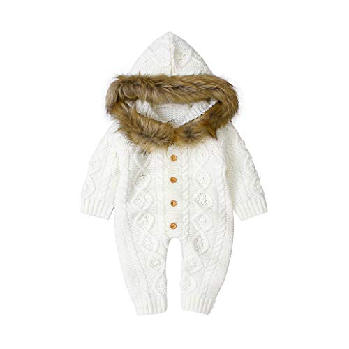 Best Price Baby Winter Knit Romper, Toddler Boys Girls Plush Hoodie Sweater Jumpsuit Faux Fur Collar...