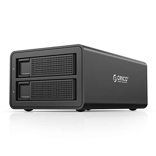 Orico 2-fack dockningsstationshårddisk för 2,5/3,5 tums SATA HDD/SSD-hårddiskar, USB 3.0 (UASP) och eSATA-anslutning, 2 * 16 TB, 48 W extern strömförsörjning, för Windows/Mac/Linux
