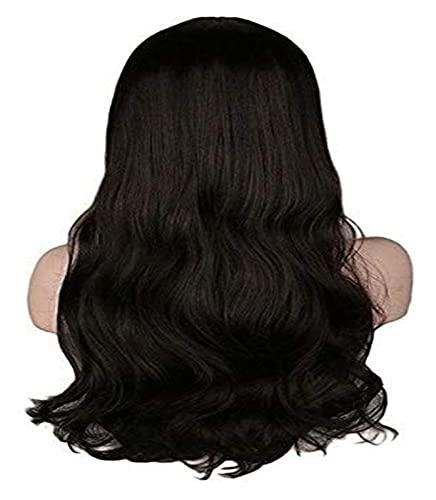 Peluca de cosplay Rtutur Señoras de las mujeres de Natrual de largo ondulado peluca de Cosplay Luz Negro Marrón oscuro Marrón 68 cm sintético pelucas de pelo, 28inches, color negro (Color: 28inches, T