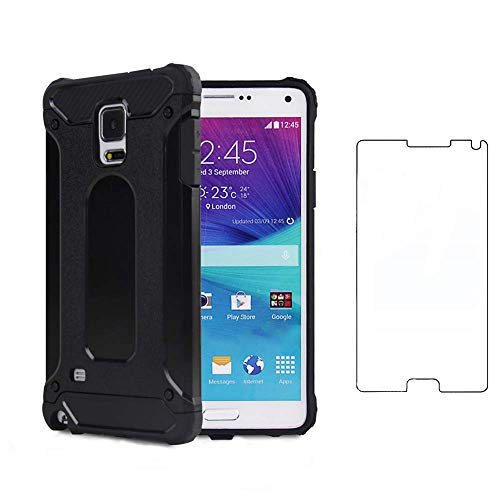 Asuwish Compatible with Samsung Galaxy Note 4 and Tempered Glass Screen Protector Cover Cell Accessories Rubber Full Body Slim Silicone Phone Cases for Glaxay Note4 N910A Not Notes Women Men Black