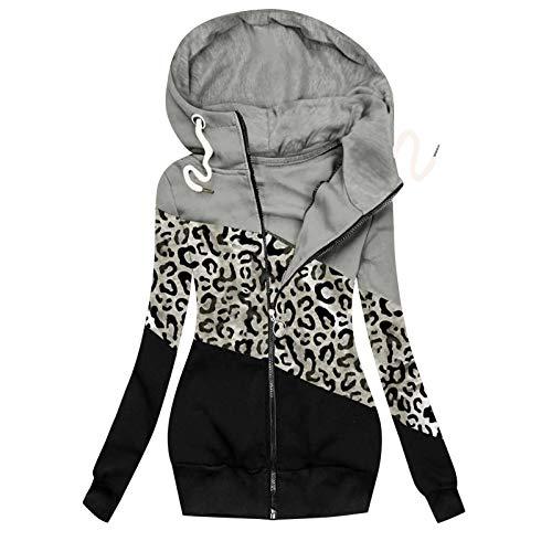 zhanxin Winter Jackets for Women Casual Leopard Prints Overcoat Zipper Long Sleeve Sweatshirt Patchwork Woolen Slim Coat