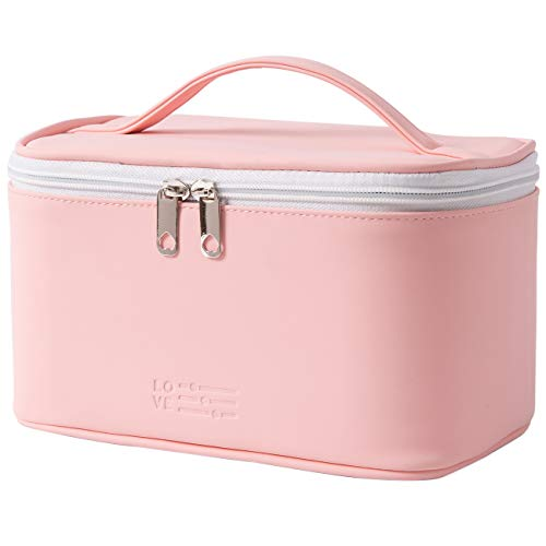 Makeup Bag Portable Travel Cosmetic Bag for Women, Beauty Zipper Makeup Organizer Bag with Inner Pouch PU Leather Washable Waterproof (Pink)