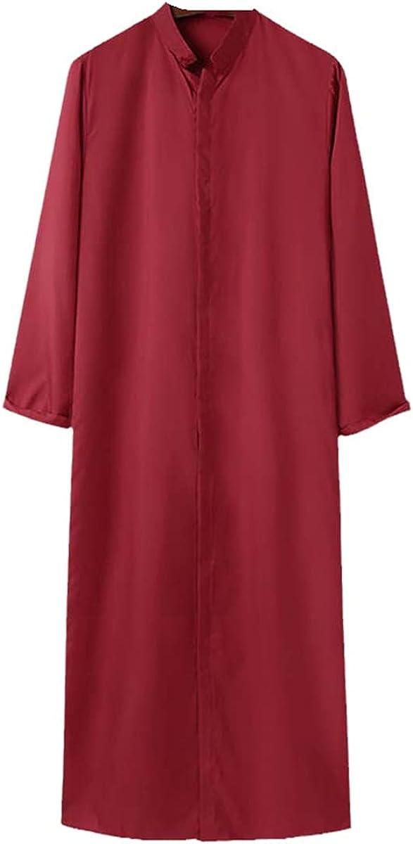 Fashion Men Jubba Thobe Long Sleeve Solid Stand Collar Muslim Clothing Islamic Kaftan Abaya Dubai Saudi Arabian Robe