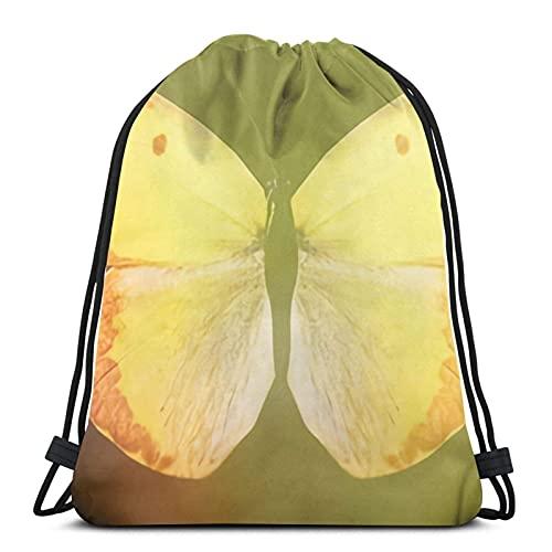 Bolsas de cordón de color mariposa en un negro unisex mochila con cordón bolsa de deporte bolsa de cuerda bolsa grande bolsa de asas bolsa de asas bolsa de gimnasio a granel