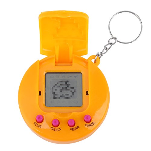 Yosoo123 Virtual Pets Keychain Electronic Digital Pet Game Keyring Children Baby Electronic Toys Nostalgic Virtual Digital Pet Retro Handheld Game Machine(Yellow)