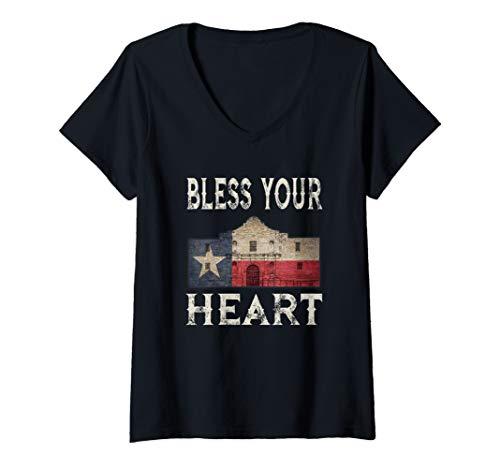 Womens Bless Your Heart Southern Slang Texas Alamo State Flag V-Neck T-Shirt