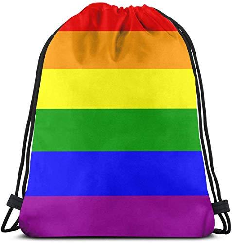March flowers Rainbow Gay Pride 3D Print Drawstring Backpack Rucksack Shoulder Bags Gym Bag for Adult 16.9\