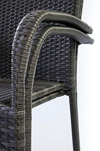 AVANTI TRENDSTORE - Agordo - Sedia impilabile in Rattan Sintetico di Colore Grigio Scuro. Ideale per l'esterno e Resistente alle intemperie. Dimensioni Lap 56x94,5x62 cm (Set di 6)