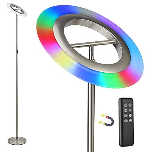 Anten Bifröst | RGB 20W LED Stehlampe mit Fernbedienung, dimmbar LED Deckenfluter mit einstellbare Lichtfarbe und Heiligkeit | Perfekt als Ambientbeleuchtung für Schlafzimmer und Wohnzimmer