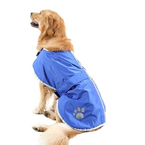 Tuzi Qiuge Haustier Kleidung Hund Mantel mit reflektierendem Band, Größe: XXL, Büste: 96-105 cm, Hals: 63-69cm (Color : Blue)