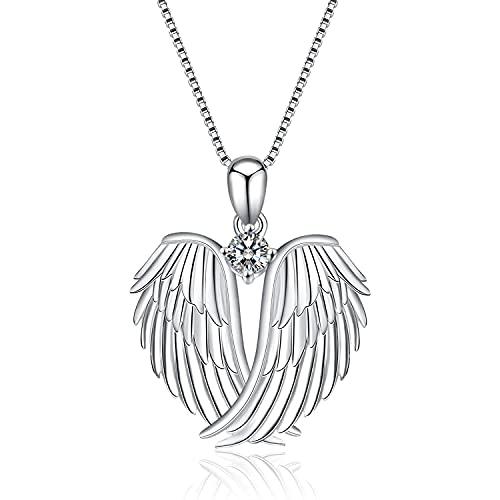 Collar de Plata Esterlina Colgante de Alas de ángel de Plata Esterlina Collar con Colgante de Alas de Amor para Mujer Collar de Cadena de Diamantes de Corazón para Mujer Regalo