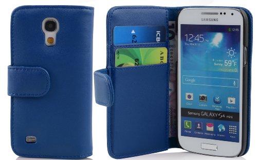 Cadorabo Funda Libro para Samsung Galaxy S4 Mini en Azul Brillante - Cubierta Proteccíon de Cuero Sintético Liso con Tarjetero y Función de Suporte - Etui Case Cover Carcasa