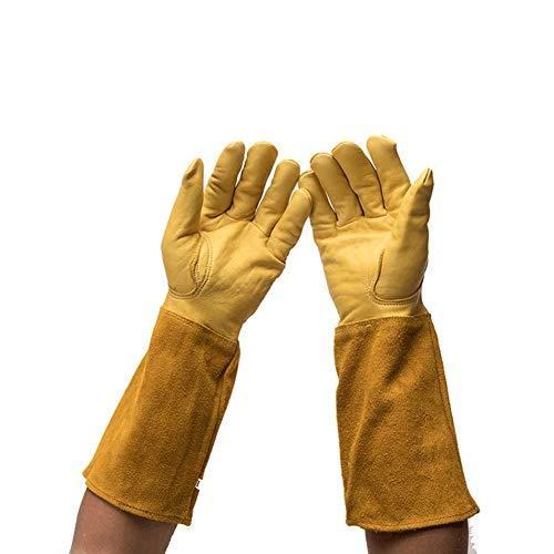 Professionelle lange Gartenhandschuhe für Damen, Rosenscheren-Handschuhe, Ziegenleder, Dornschutz, Gartenhandschuhe mit langem Rindsleder für Blumenpflanzen, Gartenarbeiten YLST11, gelb, L:16.5inch