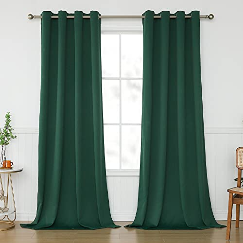 KEQIAOSUOCAI Emerald Green Window Curtains 95 Inch for Living Room - Room Darkening Blackout Curtain Set Thermal Insulated Grommets Drapes for Bedroom, Dark Green, 2 Panels, 52 X 95 in