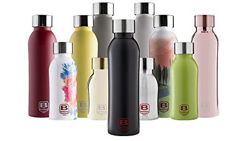 BUGATTI B Bottles Twin Bottiglia Termica 250 ML Nero Opaco Mantiene i liquidi Caldi per 12 H Freddi per 24 e Il Ghiaccio per 36 H Borraccia Fitness in Acciaio Inox 18 10 Ecologica e Riutilizzabile