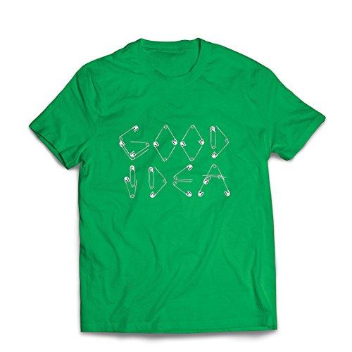 lepni.me Camisetas Hombre Una Idea Buena - Diseño Divertido para Frikis y empollón, Idea Perfecta de Regalo Divertido (Large Verde Multicolor)