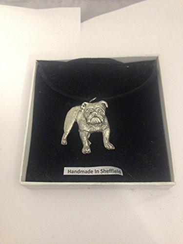 Bulldog PP-D19 - Collar de peltre, color negro, hecho a mano, 41 cm