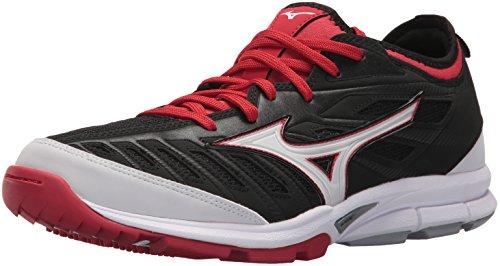 Mizuno Men's Players Trainer 2 Turf Baseball-Shoes,Black/Red,15 D US