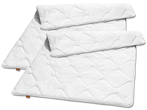 sleepling 2er Set 191125 Basic 120 Ganzjahresbettdecke Mikrofaser Mono medium 135 x 200 cm, weiß