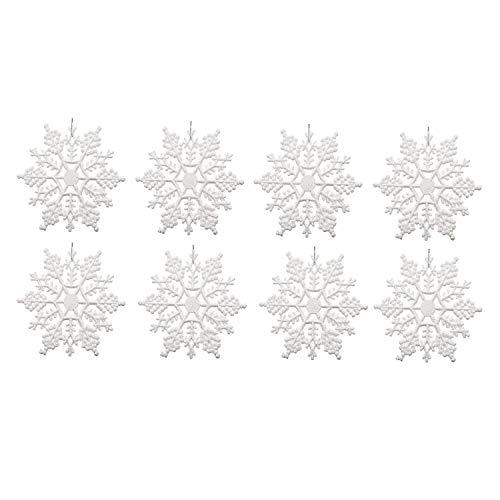 Monland 24X Kunststoff Schneeflocke Verziert, Funkelnde Wei? Schillernde Glitter Schneeflocke Ornamente auf String Aufh?Nger für Dekorieren, Basteln, Hochzeit und Verzieren