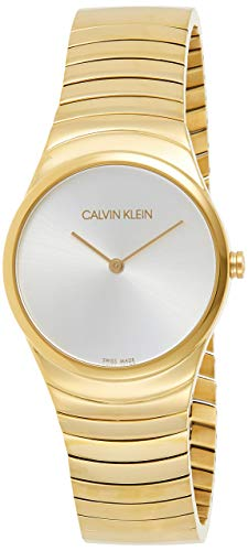 Calvin Klein Damen Analog Quarz Uhr mit Paqué or Armband K8A23546