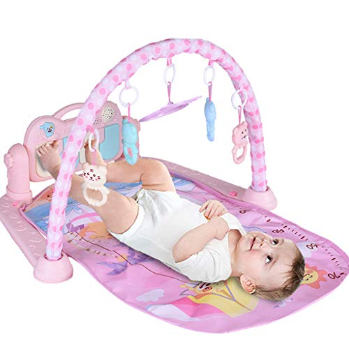 Large Baby Play Mat, Deluxe Kick 'n Play Piano Gym, 3-in-1 Musical Activity Crawling Mat for 0-36 Month Boys and Girls (Pink)