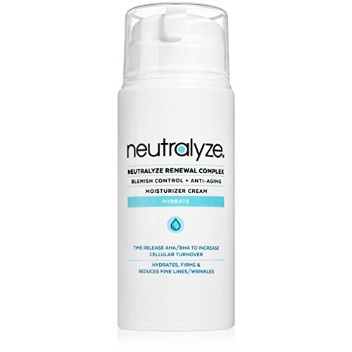 Neutralyze Renewal Complex | Maximum Strength Anti Acne + Anti Aging Moisturizer Cream With Time-Released 2% Salicylic Acid + 1% Mandelic Acid + Nitrogen Boost Skincare Technology (3.4 oz)