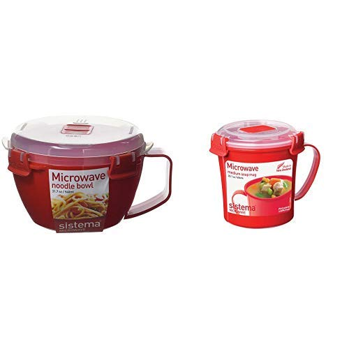 Sistema 1109 Mikrowellen-Nudelbowl To Go, 940 ml, rot & Microwave Suppentasse, 656ml, rot/transparent