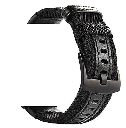 Lwwhama 2021,20mm 22mm de reloj de reloj para Samsung Galaxy Watch 46mm 42mm correa de reloj de cuero de nylon para Huawei Watch GT 2 para Huawei Watch GT 2E ( Band Color : Black , Band Width : 20mm )