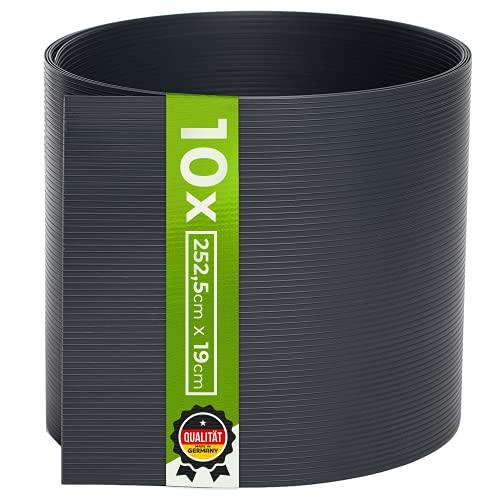 TerraUno - Premium Hart PVC Sichtschutzstreifen für Doppelstabmatten - 10 Stück für Gartenzaun I 2,525mx19cm I Anthrazit I Made in Germany I Sichtschutz für den Zaun