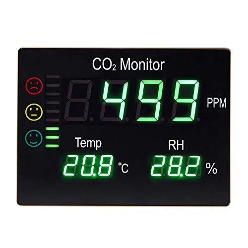 Salutech CO2 Messgerät - Luftqualitäts Warnmelder mit Ampelsystem - XXL LED Display mit CO Alarm - 3in1 Multifunktion Kohlendioxid Detektor,Temperatur & Luftfeuchtigkeit - Raumluft Monitor