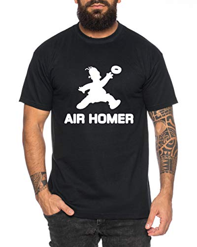 Tee Kiki Air Homer Camiseta de Hombre Cool Fun-Shirt, Farbe2:Negro, Größe2:Small