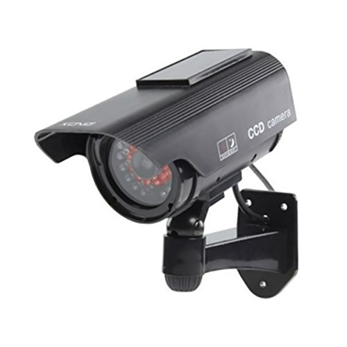Aesy Cámara de Vigilancia, Rotación de 360 Grados, 2 Pilas AA (1.5V), Cámara Simulada de Interior CCTV Exterior Segura de la Seguridad con luz LED (Cargador Solar-Negro)