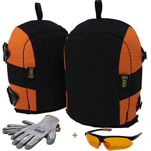 Flooring Construction Roofing Gardening Knee Pads Soft Foam Padding Heavy Duty No-Slip Leather Stabilizers Strong Double Straps Clips Kneepads for Work Bonus Cut resistance Gloves Safety Glasses