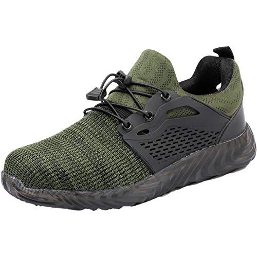 [QiQi's Store] 安全靴 鋼鉄先芯 衝撃吸収 ケブラーミッドソール 踏み抜き防止 耐摩耗 耐滑 軽量 作業靴 レディース ブラック/23.5CM