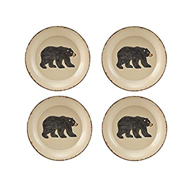 Park Designs Rustic Retreat Bear Salad Plates (Set of 4), Multicolor