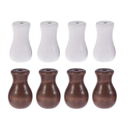 LIOOBO 8pcs Cortina de Ventana Perillas de Madera Bambú Bola Colgante Decoración del hogar DIY Cortina Craft Colgante (Brown 4pcs + White 4pcs)