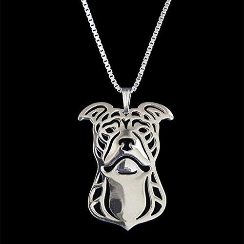 NC122 Collares de joyería de aleación Femenina para Amantes Pit Terrier (Orejas Naturales) Collares Pendientes