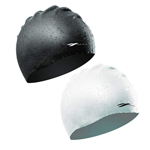 2 Pack Swim Cap White Black Friendly Silicone Material Flexible Soft and Lightweight for Swimming Diving Bathing Waterproof Lower Resistance Cling Head in Water for Unisex Adults Athlete Teenager